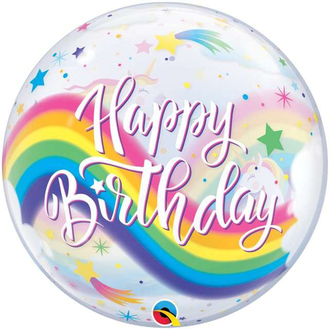 "Balon foliowy ""Happy Birthday - Tęczowe Jednorożce"", Qualatex Bubbles, 22"" ORB"