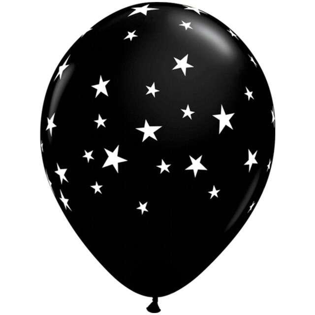 """Balony """"Gwieździsta noc"""", czarne, Qualatex, 11"""", 25 szt"""