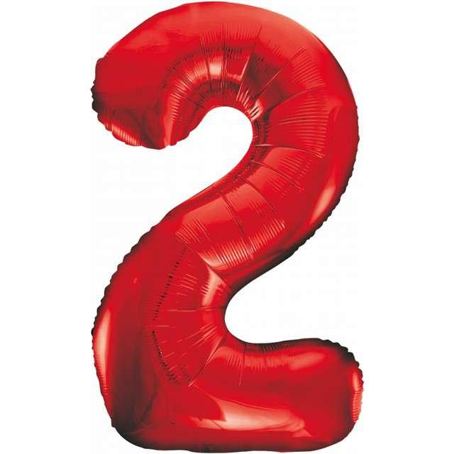 """Balon foliowy """"Beauty and Charm - Cyfra 2"""", czerwony, GODAN, 33"""""""