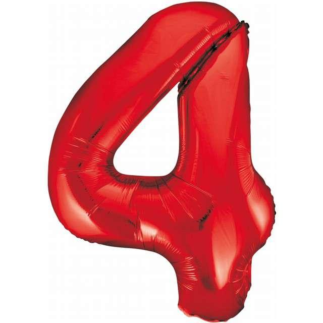 """Balon foliowy """"Beauty and Charm - Cyfra 4"""", czerwony, GODAN, 33"""""""