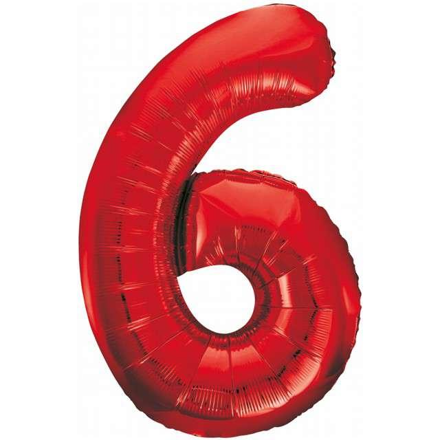 """Balon foliowy """"Beauty and Charm - Cyfra 6"""", czerwony, GODAN, 33"""""""