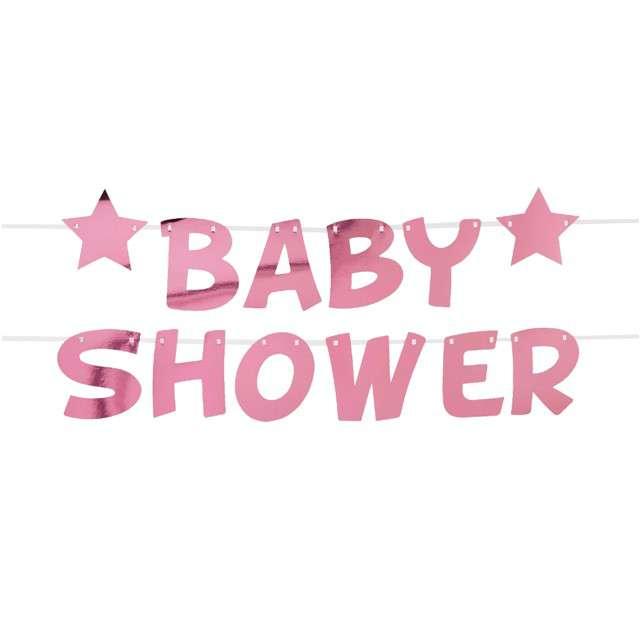 """Girlanda """"Baby Shower - Gwiazdki"""", różowa, Godan, 250 cm"""