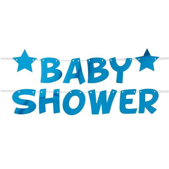 """Girlanda """"Baby Shower - Gwiazdki"""", niebieska, Godan, 250 cm"""