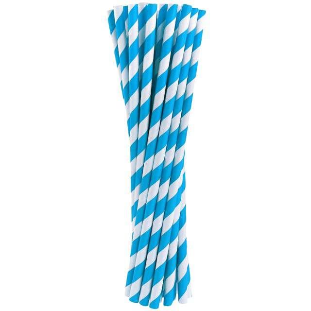 """Słomki papierowe """"BIO Paski"""", Godan, błękitne, 20 cm, 24 szt"""