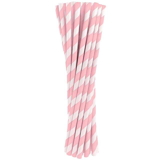 """Słomki papierowe """"BIO Paski"""", Godan, różowe jasne, 20 cm, 24 szt"""