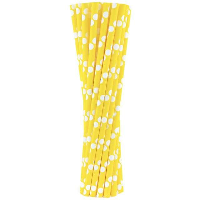 """Słomki papierowe """"BIO Grochy"""", Godan, żółte, 20 cm, 24 szt"""