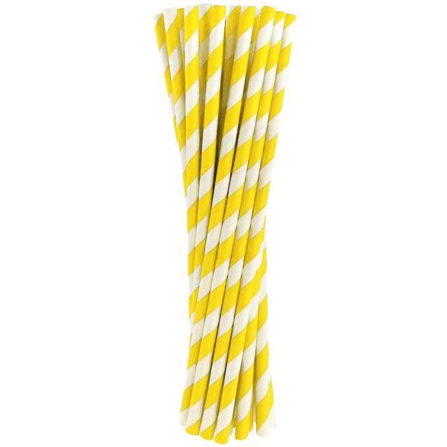 """Słomki papierowe """"BIO Paski"""", Godan, żółte, 20 cm, 24 szt"""