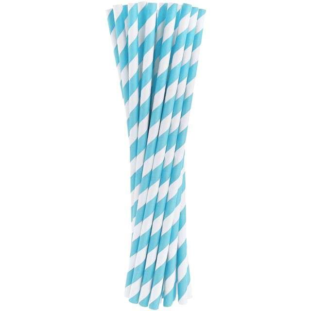 """Słomki papierowe """"BIO Paski"""", Godan, niebieskie, 20 cm, 24 szt"""