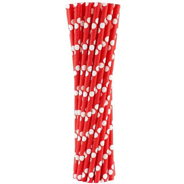 """Słomki papierowe """"BIO Grochy"""", Godan, czerwone, 20 cm, 24 szt"""