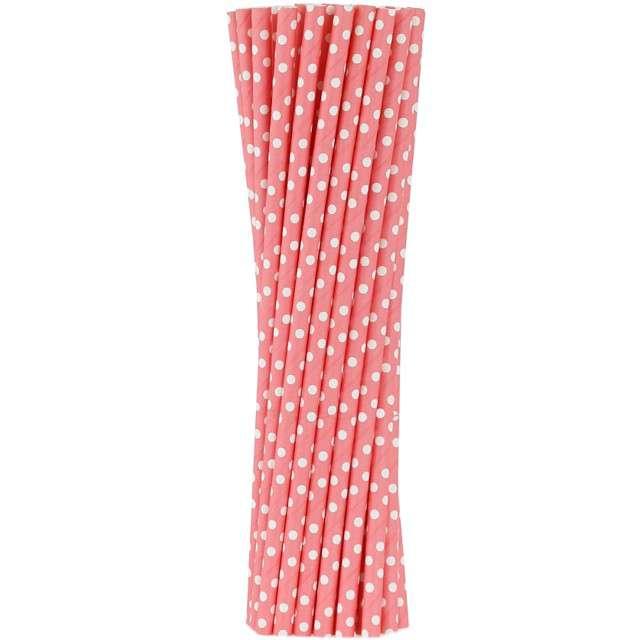 """Słomki papierowe """"BIO Grochy"""", Godan, różowe, 20 cm, 250 szt"""