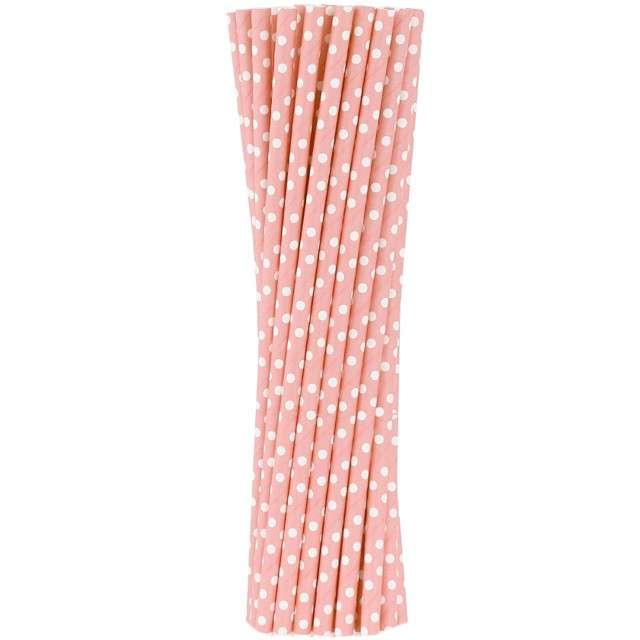 """Słomki papierowe """"BIO Grochy"""", Godan, różowe jasne, 20 cm, 250 szt"""