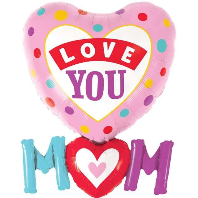 """Balon foliowy """"Dzień Matki - Love You Mom"""", QUALATEX, 33"""" SHP"""