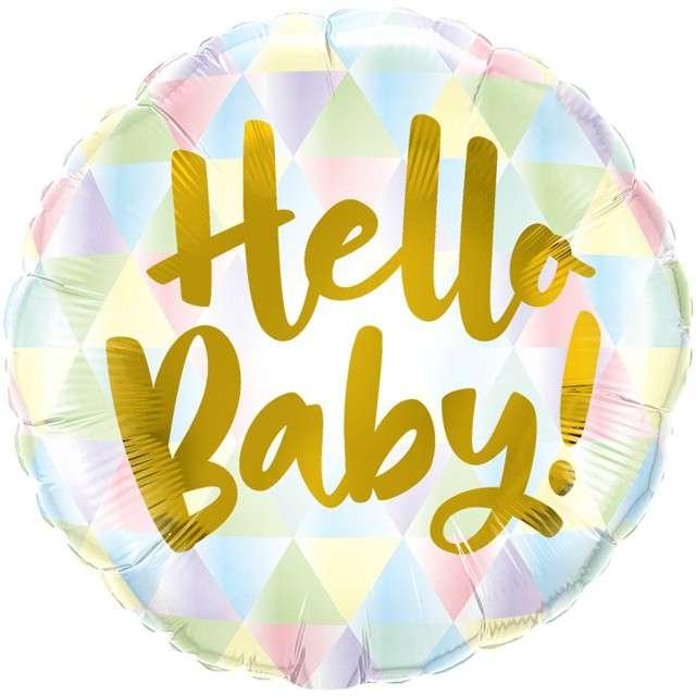 "Balon foliowy ""Hello Baby - pastel"", Qualatex, 18"" RND"