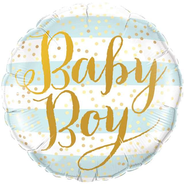 "Balon foliowy ""Baby Boy"", Qualatex, 18"" RND"