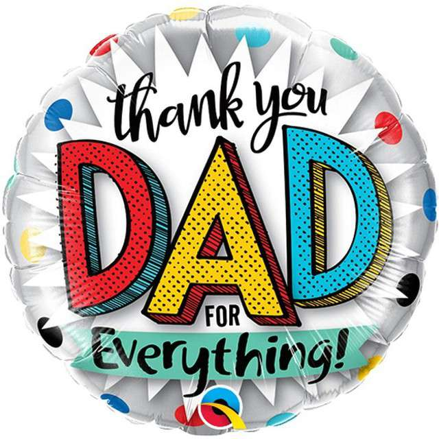 "Balon foliowy ""Thank you Dad for everything"", QUALATEX, 9"" RND"