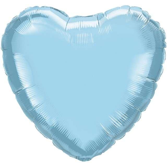 "Balon foliowy ""Serce"", niebieski perłowy, QUALATEX, 9"" HRT"