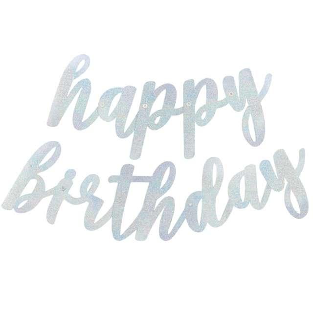 """Girlanda """"Happy Birthday - dwuczęściowa"""", srebrna, UNIQUE, 84 cm"""
