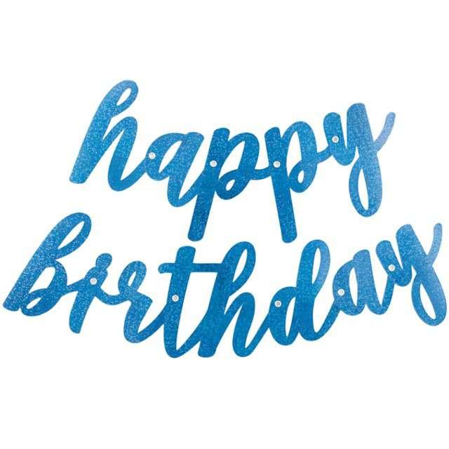 """Girlanda """"Happy Birthday - dwuczęściowa"""", niebieska, UNIQUE, 84 cm"""