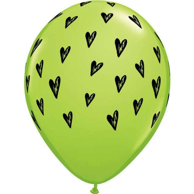 """Balony """"Serduszka"""", zielone , Qualatex, 11"""", 25 szt"""