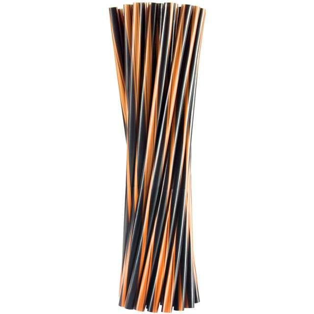 """Słomki proste """"Twister - grube"""", pomarańczowo-czarne, Godan, 8mm, 24 cm, 20 szt"""