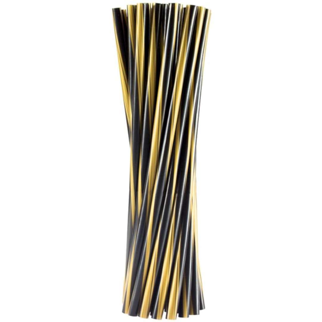 """Słomki proste """"Twister - grube"""", czarno - złote, Godan, 8mm, 24 cm, 20 szt"""