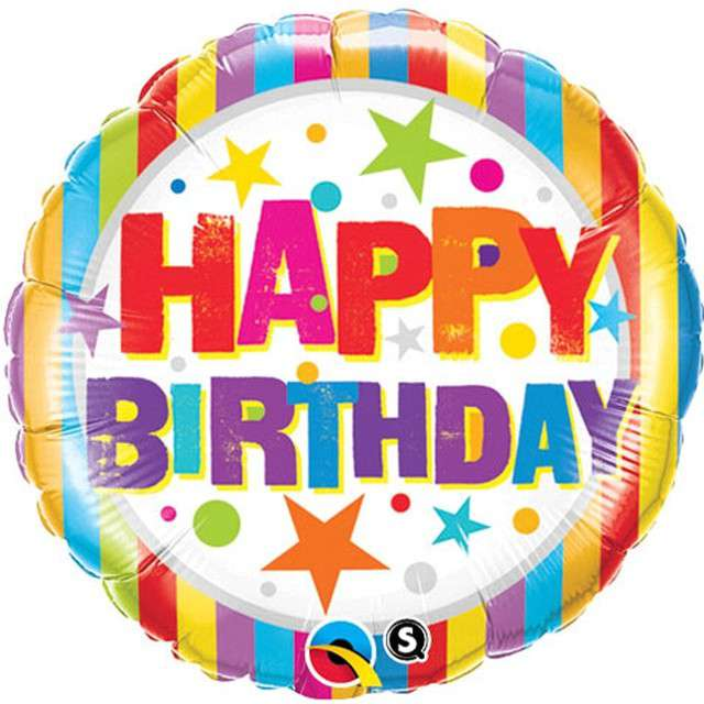 """Balon foliowy """"Happy Birthday - paski gwiazdki Holo"""", Qualatex, 18"""" RND"""