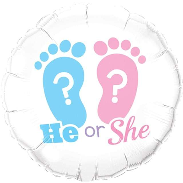 "Balon foliowy ""He or She - stopy"", Qualatex, 18"" RND"