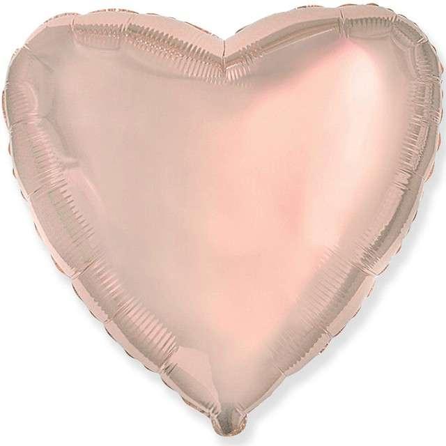 """Balon foliowy """"Serce metaliczne"""", różowe złoto, FLEXMETAL, 18"""" HRT"""