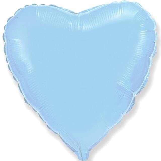 """Balon foliowy """"Serce metaliczne"""", niebieski jasny, FLEXMETAL, 18"""" HRT"""