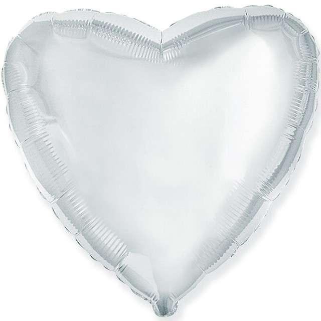 "Balon foliowy ""Duże serce"", srebrne, Flexmetal, 32"" HRT"
