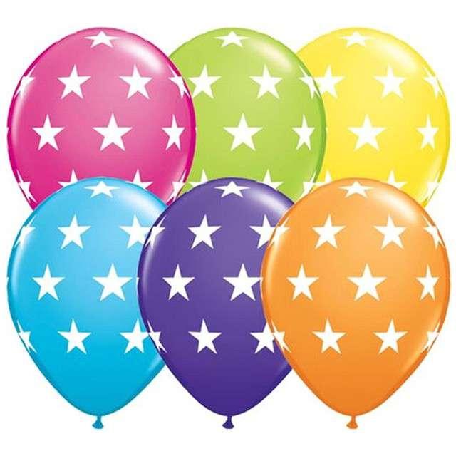 """Balony """"Gwiazdy"""", pastel mix, Qualatex, 12"""", 6 szt"""