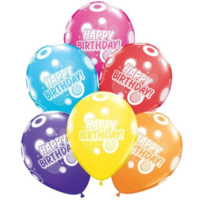 "Balony ""Happy Birthday"", pastel mix, Qualatex, 11"", 6szt"