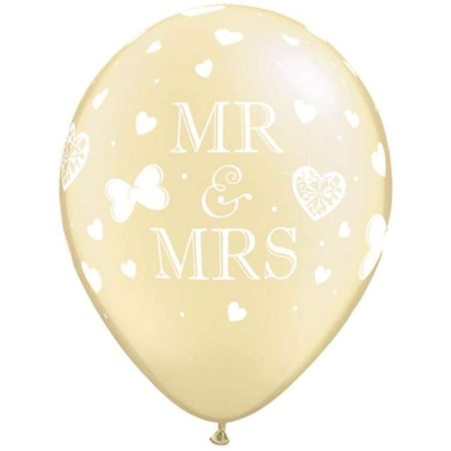 "Balony ""Mr and Mrs"", ecru, Qualatex, 11"", 25 szt"
