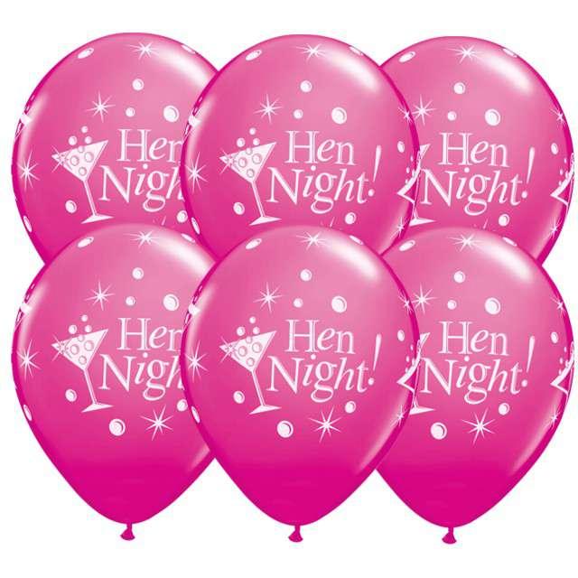 """Balony """"Hen Night - Wieczór Panieński"""", fuksja, 12"""", 6 szt"""