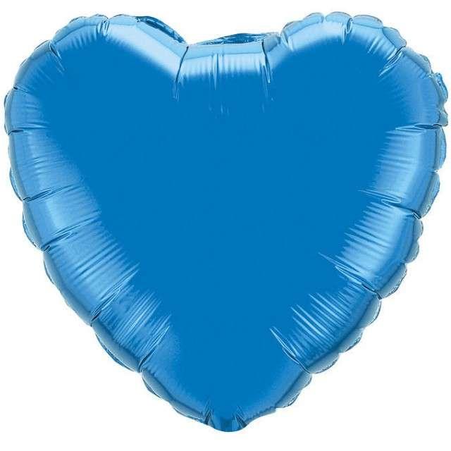 """Balon foliowy """"Serce metaliczne"""", niebieski, FLEXMETAL, 18"""" HRT"""