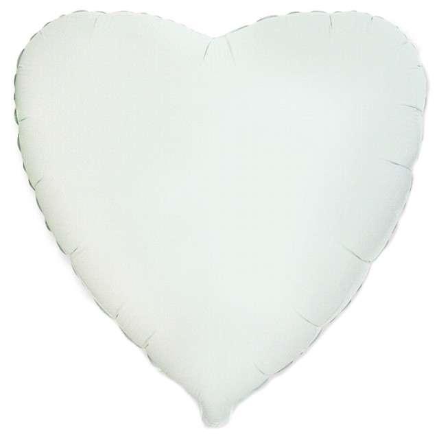 """Balon foliowy """"Serce metaliczne"""", białe, FLEXMETAL, 18"""" HRT"""