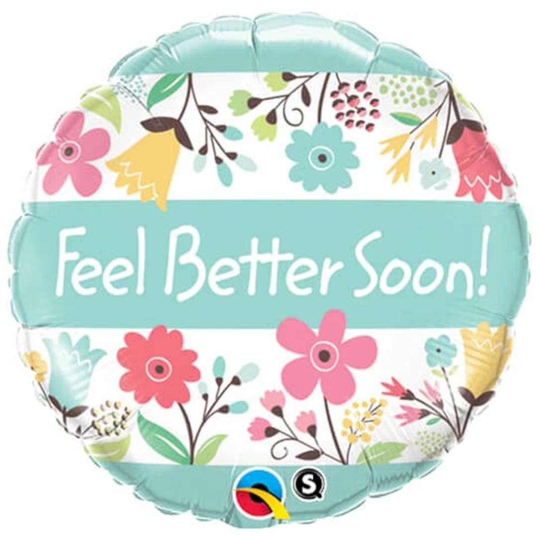 "Balon foliowy ""Feel Better Soon! Kwiatki"", Qualatex, 18"" RND"