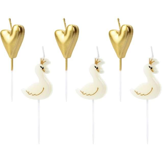 """Świeczki na tort """"Lovely Swan - Łabędź"""", mix, PartyDeco, 3,5-4 cm, 6 szt"""
