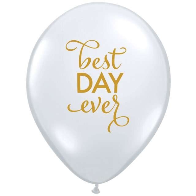 "Balon ""Best Day Ever"", transparentne, Qualatex, 11"", 25 szt"