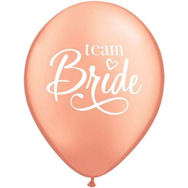 """Balony """"Team Bride"""", różowe złoto, Qualatex, 11"""", 25 szt"""