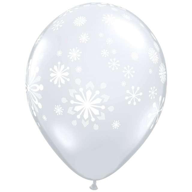 """Balony """"Płatki śniegu"""", transparentne, Qualatex, 11"""", 25 szt"""
