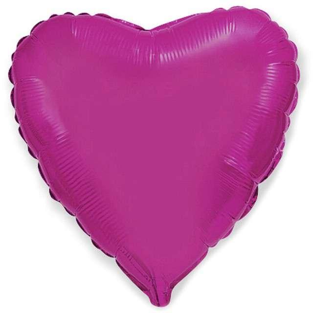 "Balon foliowy ""Serce"", purpurowe, Flexmetal, 18"", RND"