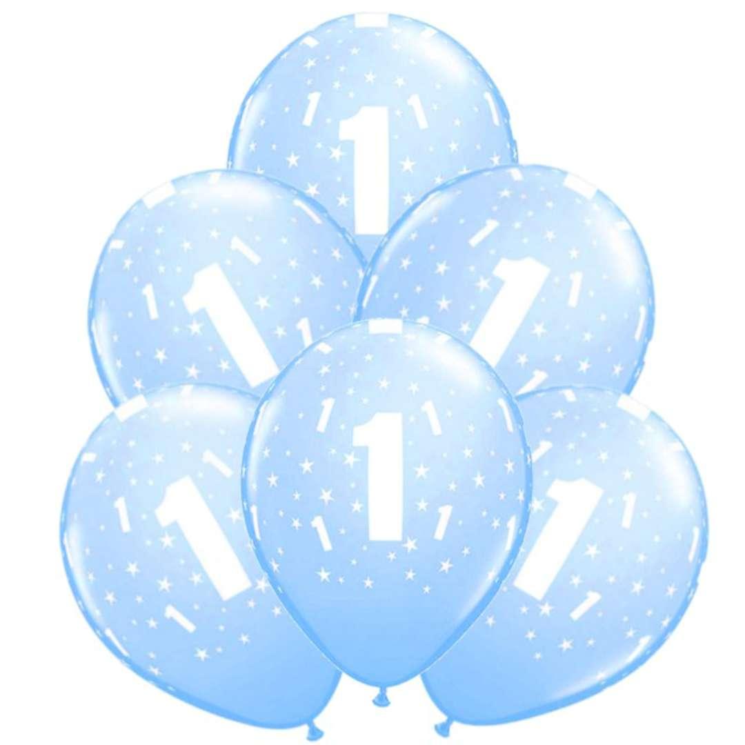 """Balony """"1 Urodziny"""", niebieskie jasne, Qualatex, 11"""", 6 szt"""