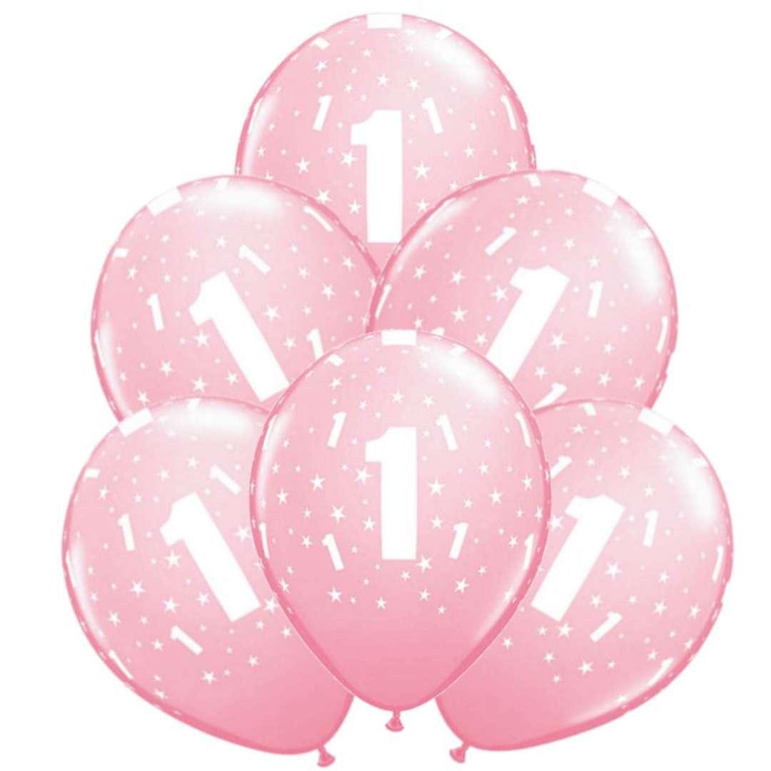 """Balony """"1 Urodziny"""", różowy jasny, Qualatex, 11"""", 6 szt"""
