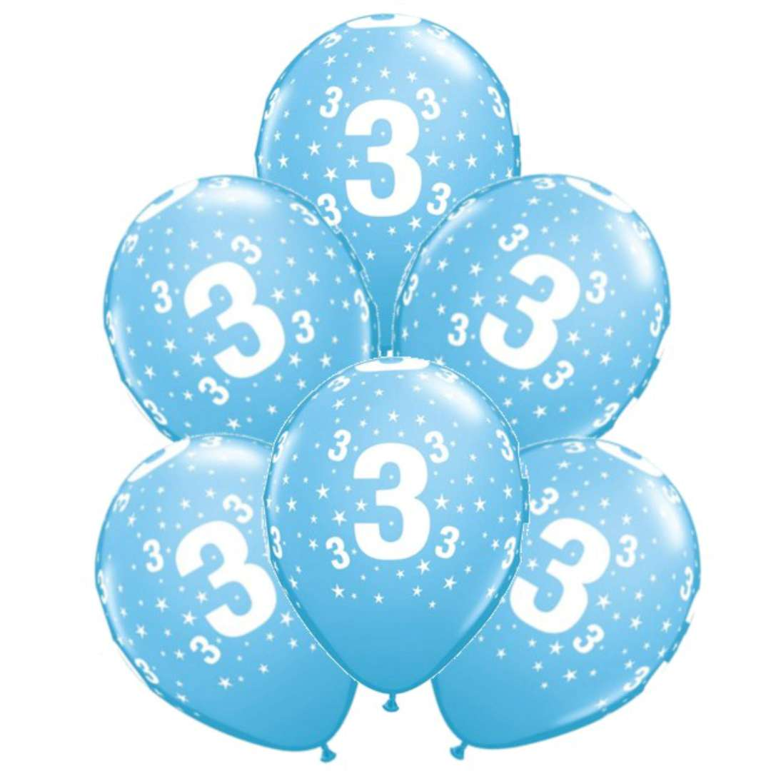 """Balony """"Cyfra 3"""", błękitne, Qualatex, 12"""", 6 szt"""