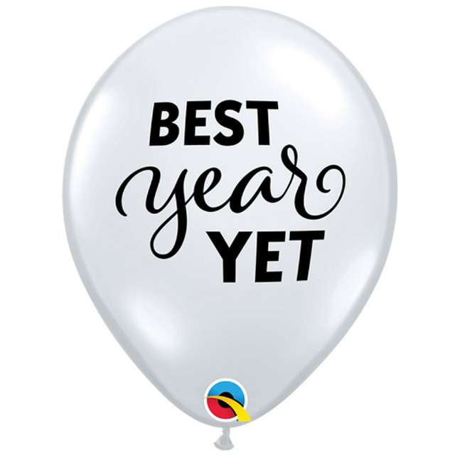 "Balony ""Best year yet"", transparentne, Qualatex, 11"", 25 szt"