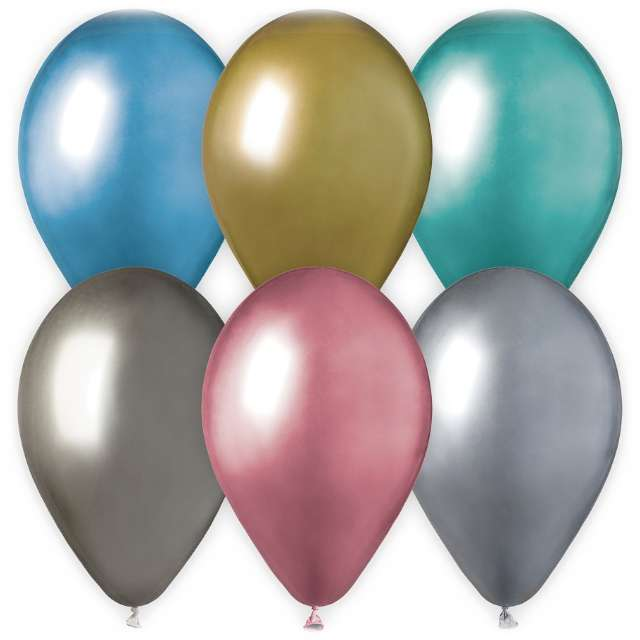 "Balony ""Shiny"", mix chrom, Gemar, 13"", 50 szt"