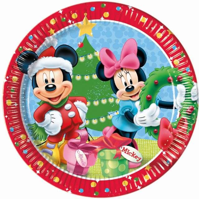 """Talerzyki papierowe """"Mickey Christmas"""", 23 cm, 8 szt"""