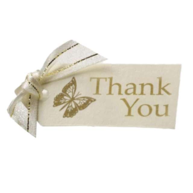 _xx_Zawieszka Elegant Butterfly - Thank you, ko?ć słoniowa, 10 szt.