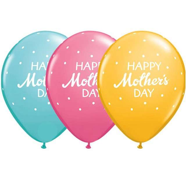 "Balon ""Happy Mothers Day"", mix, Qualatex, 11"", 25 szt"